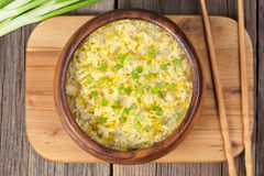 Healthy traditional asian food drop egg soup with Stock Photography