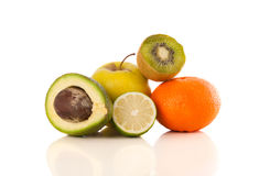 Healthy tropical fresh fruits on white background Royalty Free Stock Photos