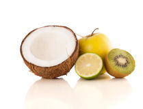 Healthy tropical fresh fruits on white background Stock Photo