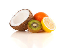 Healthy tropical fresh fruits on white background Stock Photos