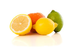 Healthy tropical fresh fruits on white background Stock Images