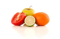 Healthy tropical fresh fruits on white background Royalty Free Stock Images