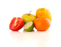 Healthy tropical fresh fruits on white background Stock Image