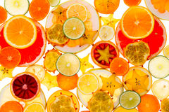 Healthy tropical fruit and citrus background Royalty Free Stock Photo