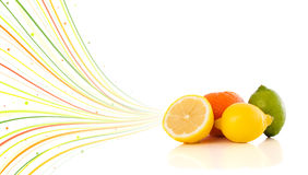 Healthy tropical fruits with colorful abstract lines Stock Photography