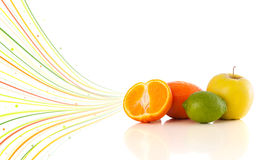 Healthy tropical fruits with colorful abstract lines Stock Image