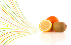 Healthy tropical fruits with colorful abstract lines Royalty Free Stock Photography