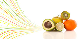 Free Healthy Tropical Fruits With Colorful Abstract Lines Stock Image - 32854791