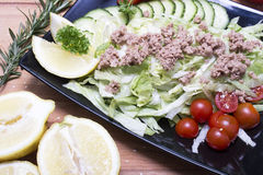 Healthy tuna salad on the black plate Royalty Free Stock Images