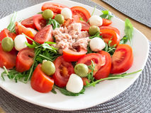Healthy Tuna Salad with Olives, Tomato and Cheese Royalty Free Stock Image