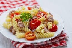 Healthy tuna and tomato pasta Royalty Free Stock Photo