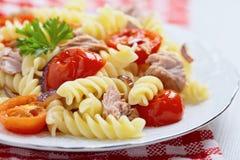 Healthy tuna and tomato pasta Stock Image