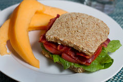 Healthy turkey BLT with melon Royalty Free Stock Photography