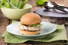Healthy turkey burger on a bun stock photos