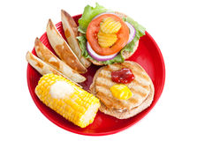 Healthy Turkey Burger Meal with Path Stock Photos