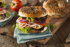 Healthy Turkey Sandwich on a Bagel Royalty Free Stock Photo