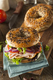 Healthy Turkey Sandwich on a Bagel Royalty Free Stock Image