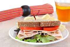 Healthy turkey sandwich on whole wheat bread. Royalty Free Stock Photography