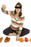 Healthy or unhealthy?. Pregnant women must guess what is healthy Stock Images