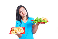 Healthy And Unhealthy Diet Royalty Free Stock Images