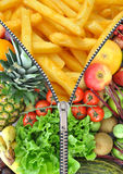 Healthy and unhealthy diet concept Stock Image