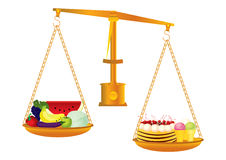 Healthy and unhealthy food Stock Image