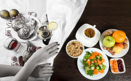 Healthy and unhealthy food and alcohol. Dieting after holidays Stock Photos