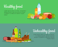 Healthy and Unhealthy Food Banner Poster Royalty Free Stock Photo