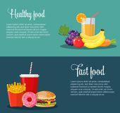 Healthy and unhealthy food banners. Stock Photo