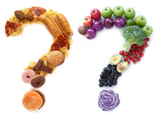 Healthy unhealthy food choices. Unhealthy and healthy food ingredients in a the shape of question marks alongside each other Royalty Free Stock Photo