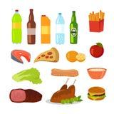 Healthy and Unhealthy Food. Editable Food Icons Stock Photo