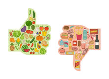 Healthy and unhealthy food stock illustration