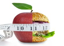 Healthy and unhealthy food nutrition choices concept stock images