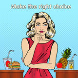 Healthy or Unhealthy Food. Woman in Doubts. Healthy Lifestyle. Fast Food and Fruits. Pop Art. Vector illustration Stock Images