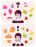 Healthy and unhealthy food Stock Images