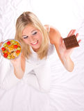 Healthy or unhealthy life style Stock Photos