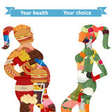 Healthy and unhealthy lifestyle concept. Female silhouettes  with icons of healthy foods and unhealthy foods. Thick woman and slim woman silhouettes Stock Photography