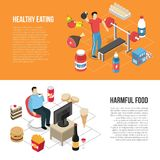 Healthy Unhealthy Lifestyles Isometric Banners royalty free illustration
