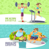 Healthy And Unhealthy People Horizontal Banners Set. Cartoon vector illustration Royalty Free Stock Photography