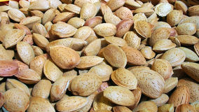Healthy unpeeled almonds at spanish market. Spain Royalty Free Stock Image