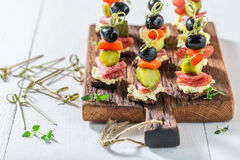 Healthy various cold snacks with vegetables and herbs for party Royalty Free Stock Photo