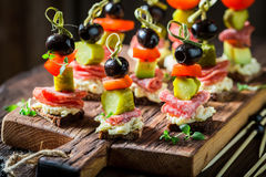 Healthy various snacks with vegetables and herbs Royalty Free Stock Photo