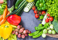 Healthy veg diet, vegetables and fruits ingredients background. Stock Photos