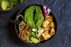 Healthy vegan bowl with tofu and avocado rose. Vegan bowl with avocado, silky tofu, bean sprouts and pickled vegetables over rice royalty free stock photos