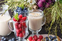 Healthy vegan breakfast. Oatmeal granola with oat milk and berries over wooden table background. Clean eating, weight loss, vegeta. Rian, raw food concept Stock Images