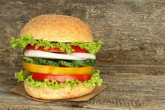 Healthy vegan burger with raw vegetables Stock Photo