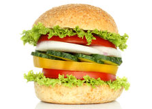 Healthy vegan burger with raw vegetables Royalty Free Stock Photos