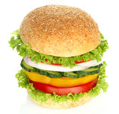 Healthy vegan burger with raw vegetables Royalty Free Stock Images