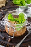 Healthy vegan chocolate pudding in a jar royalty free stock photos