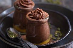 Healthy vegan chocolate pumpkin pudding Stock Images